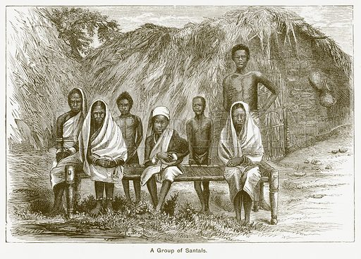 A Group of Santals. Illustration for The Children of India (Religious Tract Society, c 1875).