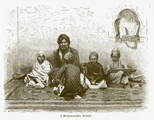 A Mohammedan School. Illustration for The Children of India (Religious Tract Society, c 1875).