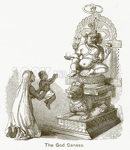 The God Ganesa. Illustration for The Children of India (Religious Tract Society, c 1875).