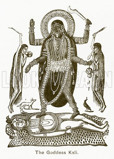 The Goddess Kali. Illustration for The Children of India (Religious Tract Society, c 1875).
