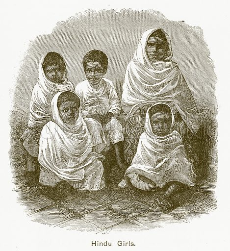 Hindu Girls. Illustration for The Children of India (Religious Tract Society, c 1875).