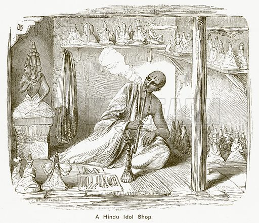 A Hindu Idol Shop. Illustration for The Children of India (Religious Tract Society, c 1875).