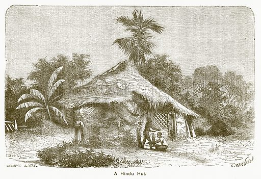 A Hindu Hut. Illustration for The Children of India (Religious Tract Society, c 1875).