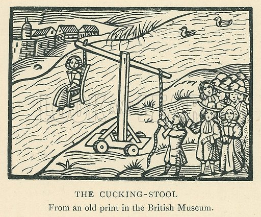 The Cucking-Stool. Illustration for London in the Time of the Tudors by Sir Walter Besant (A & C Black, 1904).