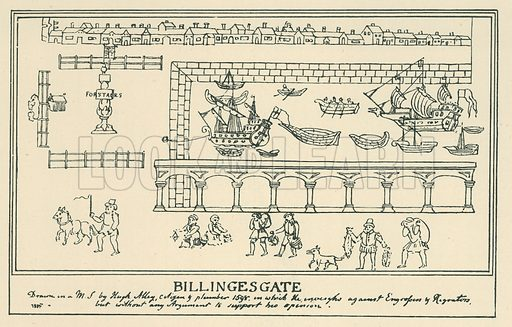 Billingesgate. Illustration for London in the Time of the Tudors by Sir Walter Besant (A & C Black, 1904).