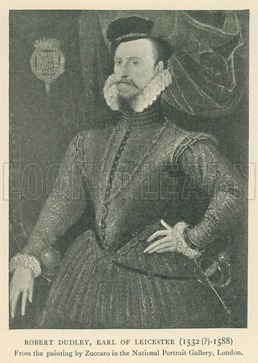 Robert Dudley, Earl of Leicester (1532(?)-1588). Illustration for London in the Time of the Tudors by Sir Walter Besant (A & C Black, 1904).