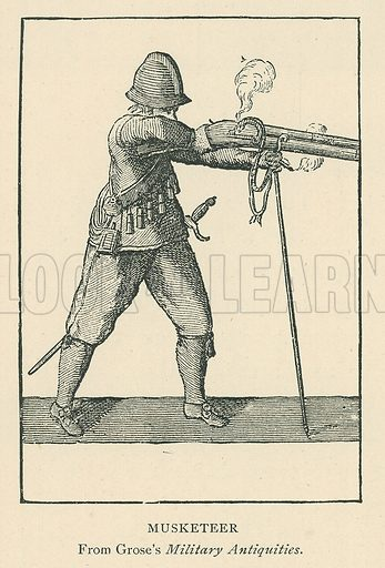Musketeer. Illustration for London in the Time of the Tudors by Sir Walter Besant (A & C Black, 1904).