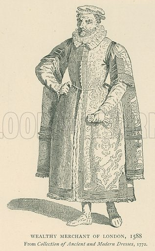 Wealthy Merchant of London, 1588. Illustration for London in the Time of the Tudors by Sir Walter Besant (A & C Black, 1904).