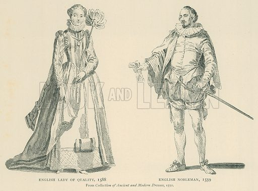 English Lady of Quality. 1588. English Nobleman, 1559. Illustration for London in the Time of the Tudors by Sir Walter Besant (A & C Black, 1904).