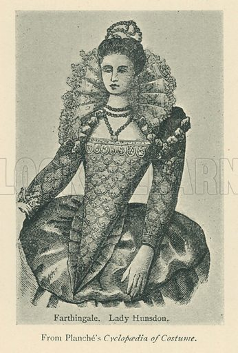 Farthingale. Lady Hunsdon. Illustration for London in the Time of the Tudors by Sir Walter Besant (A & C Black, 1904).