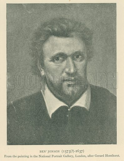 Ben Jonson (1573(?)-1637). Illustration for London in the Time of the Tudors by Sir Walter Besant (A & C Black, 1904).