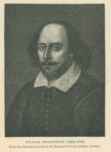 William Shakespeare (1564–1616). Illustration for London in the Time of the Tudors by Sir Walter Besant (A & C Black, 1904).