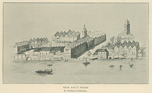 Near Paul's Wharf. Illustration for London in the Time of the Tudors by Sir Walter Besant (A & C Black, 1904).