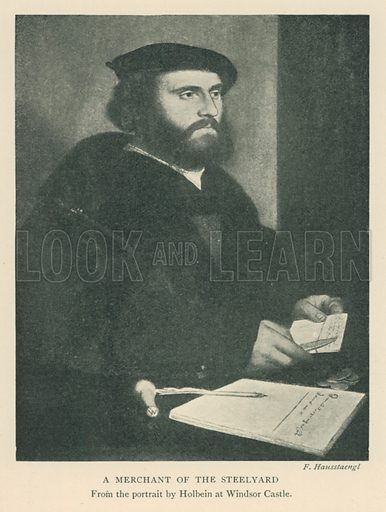 A Merchant of the Steelyard. Illustration for London in the Time of the Tudors by Sir Walter Besant (A & C Black, 1904).