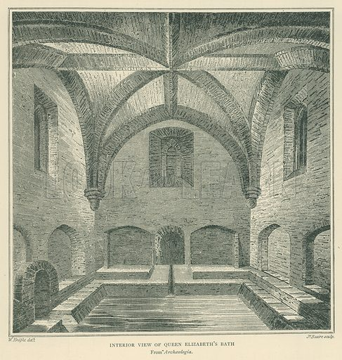 Interior View of Queen Elizabeth's Bath. Illustration for London in the Time of the Tudors by Sir Walter Besant (A & C Black, 1904).
