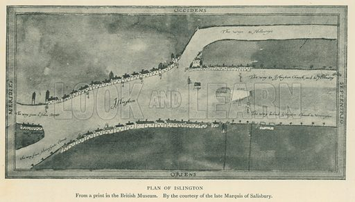 Plan of Islington. Illustration for London in the Time of the Tudors by Sir Walter Besant (A & C Black, 1904).