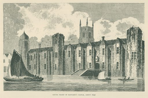South Front of Baynard's Castle, about 1640. Illustration for London in the Time of the Tudors by Sir Walter Besant (A & C Black, 1904).
