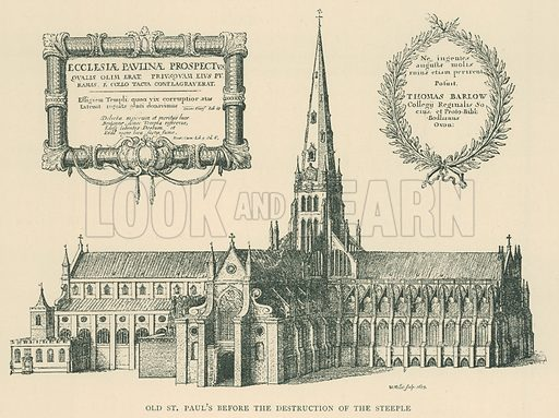 Old St Paul's before the Destruction of the Steeple. Illustration for London in the Time of the Tudors by Sir Walter Besant (A & C Black, 1904).