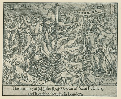 The Burning of John Rogers. Illustration for London in the Time of the Tudors by Sir Walter Besant (A & C Black, 1904).