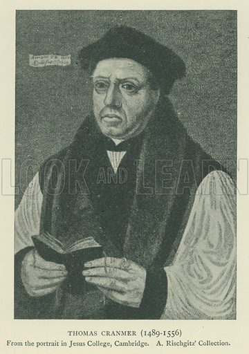 Thomas Cranmer (1489–1556). Illustration for London in the Time of the Tudors by Sir Walter Besant (A & C Black, 1904).
