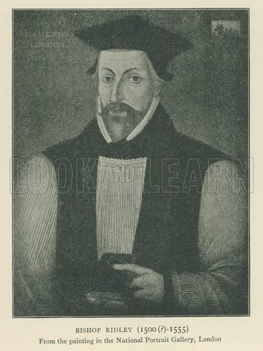 Bishop Ridley (1500(?)-1555). Illustration for London in the Time of the Tudors by Sir Walter Besant (A & C Black, 1904).