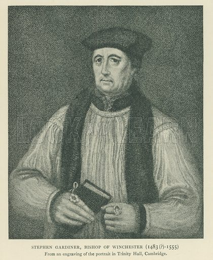 Stephen Gardiner, Bishop of Winchester (1483(?)-1555). Illustration for London in the Time of the Tudors by Sir Walter Besant (A & C Black, 1904).