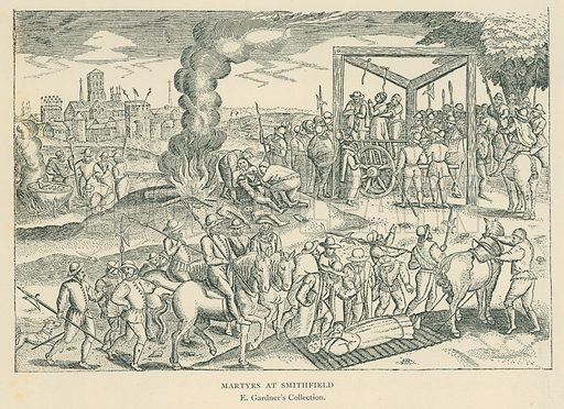 Martyrs at Smithfield. Illustration for London in the Time of the Tudors by Sir Walter Besant (A & C Black, 1904).