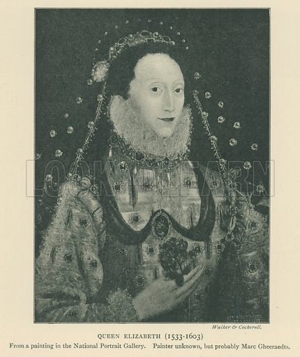 Queen Elizabeth (1553–1603). Illustration for London in the Time of the Tudors by Sir Walter Besant (A & C Black, 1904).