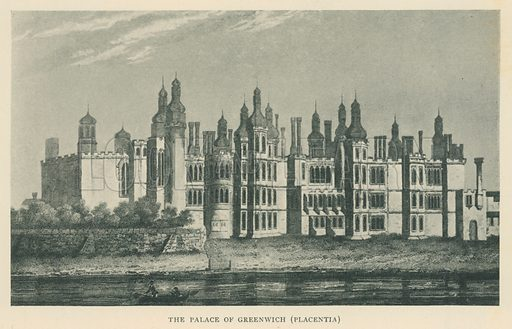The Palace of Greenwich (Placentia). Illustration for London in the Time of the Tudors by Sir Walter Besant (A & C Black, 1904).