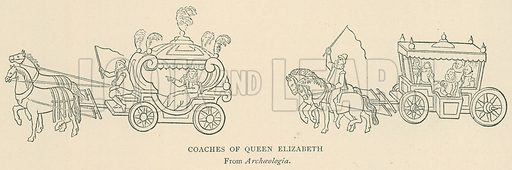 Coaches of Queen Elizabeth. Illustration for London in the Time of the Tudors by Sir Walter Besant (A & C Black, 1904).