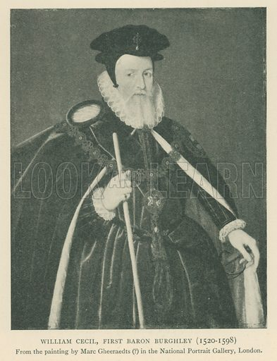 William Cecil, First Baron Burghley (1520–1598). Illustration for London in the Time of the Tudors by Sir Walter Besant (A & C Black, 1904).