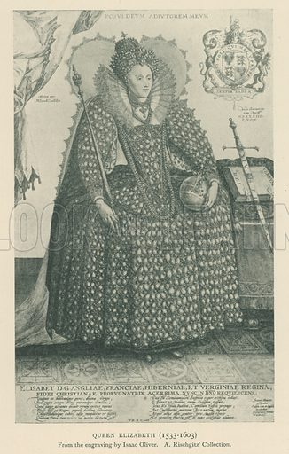 Queen Elizabeth (1533–1603). Illustration for London in the Time of the Tudors by Sir Walter Besant (A & C Black, 1904).
