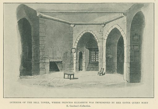 Interior of the Bell Tower, where Princess Elizabeth was Imprisoned by her Sister Queen Mary. Illustration for London in the Time of the Tudors by Sir Walter Besant (A & C Black, 1904).