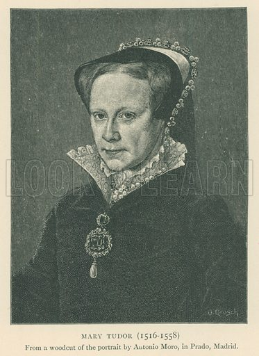 Mary Tudor (1516–1558). Illustration for London in the Time of the Tudors by Sir Walter Besant (A & C Black, 1904).