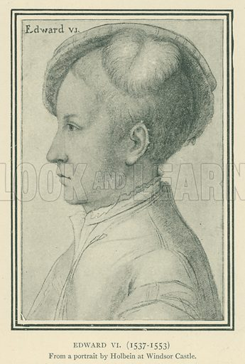 Edward VI(1537–1553). Illustration for London in the Time of the Tudors by Sir Walter Besant (A & C Black, 1904).