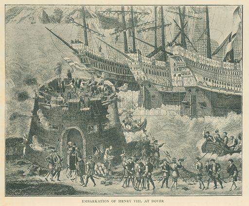 Embarkation of Henry VIII at Dover. Illustration for London in the Time of the Tudors by Sir Walter Besant (A & C Black, 1904).