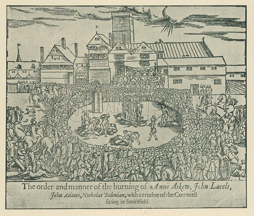 Burning of Anne Askew and others. Illustration for London in the Time of the Tudors by Sir Walter Besant (A & C Black, 1904).