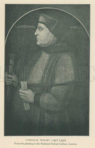 Cardinal Wolsey (1471–1530). Illustration for London in the Time of the Tudors by Sir Walter Besant (A & C Black, 1904).