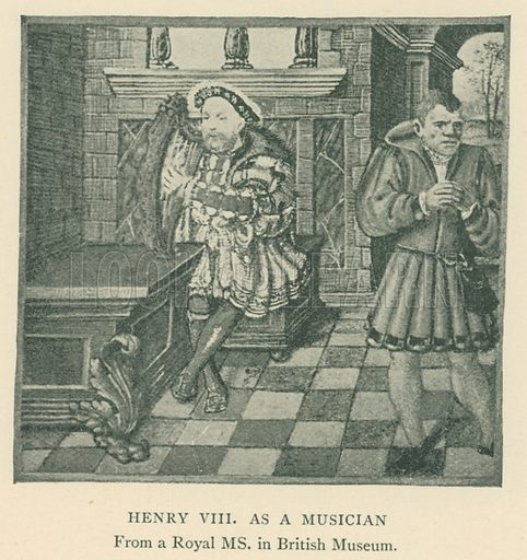 Henry VIII as a Musician. Illustration for London in the Time of the Tudors by Sir Walter Besant (A & C Black, 1904).