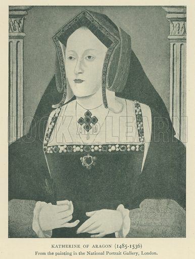Katherine of Aragon (1485–1536). Illustration for London in the Time of the Tudors by Sir Walter Besant (A & C Black, 1904).