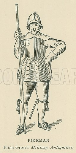 Pikeman. Illustration for London in the Time of the Tudors by Sir Walter Besant (A & C Black, 1904).