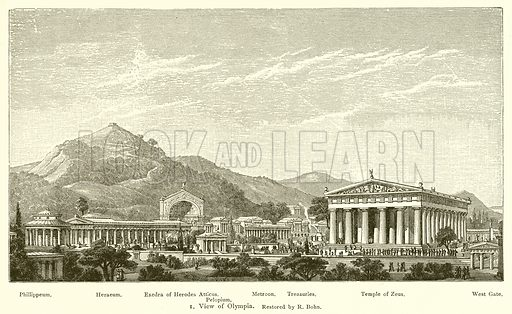 View of Olympia, restored by R Bohn.  Illustration for Atlas of Classical Antiquities by Th Schreiber (Macmillan, 1895).