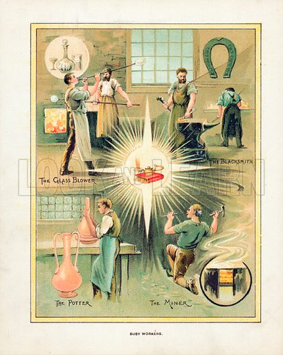 Busy Workers. Illustration for Aunt Louisa's Book of Common Things by L Valentine (Frederick Warne, c 1880).