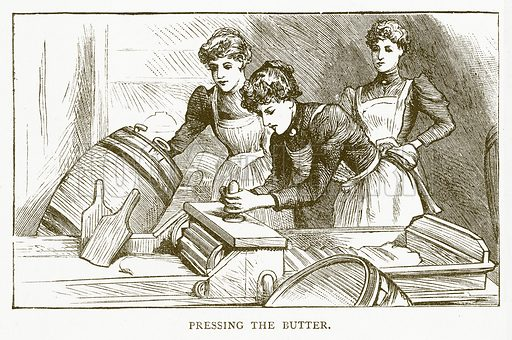 Pressing the Butter. Illustration for Aunt Louisa's Book of Common Things by L Valentine (Frederick Warne, c 1880).