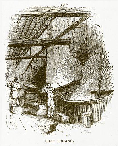 Soap Boiling. Illustration for Aunt Louisa's Book of Common Things by L Valentine (Frederick Warne, c 1880).