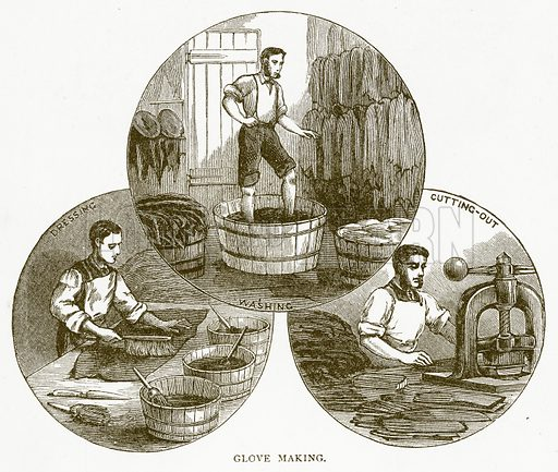 Glove Making. Illustration for Aunt Louisa's Book of Common Things by L Valentine (Frederick Warne, c 1880).