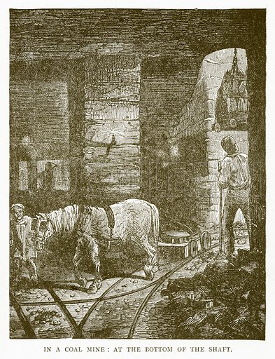 In a Coal Mine: At the Bottom of the Shaft. Illustration for Aunt Louisa's Book of Common Things by L Valentine (Frederick Warne, c 1880).