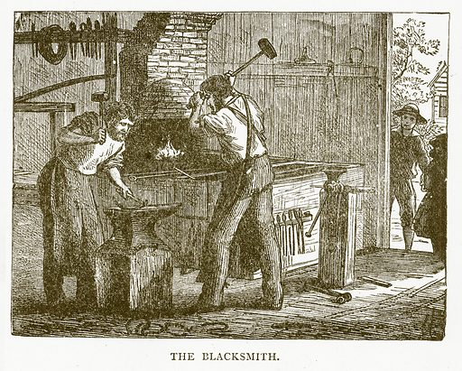 The Blacksmith. Illustration for Aunt Louisa's Book of Common Things by L Valentine (Frederick Warne, c 1880).