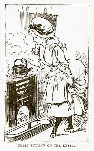 Nurse Putting on the Kettle. Illustration for Aunt Louisa's Book of Common Things by L Valentine (Frederick Warne, c 1880).