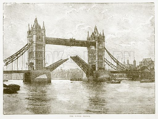 The Tower Bridge. Illustration for Aunt Louisa's Book of Common Things by L Valentine (Frederick Warne, c 1880).